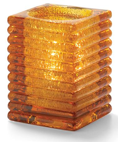 Amber Jewel Horizontal Rib Block Glass Lamp