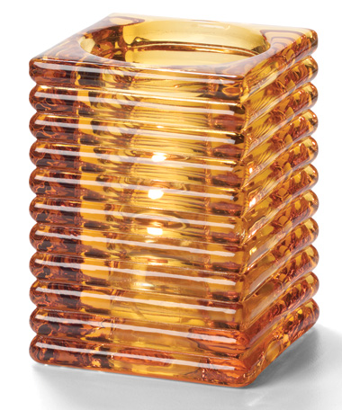 Amber Horizontal Rib Block Glass Lamp
