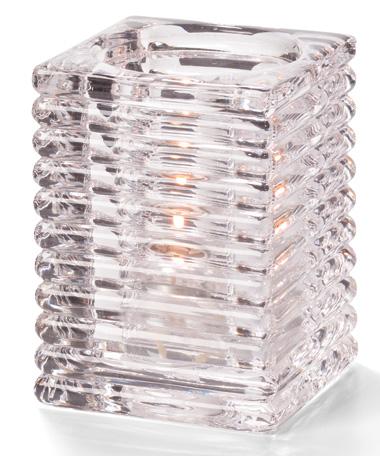 Clear Horizontal Rib Block Glass Lamp