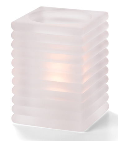 Satin Crystal Horizontal Rib Block Glass Lamp