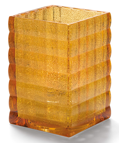 Amber Jewel Optic Block™ Glass Lamp
