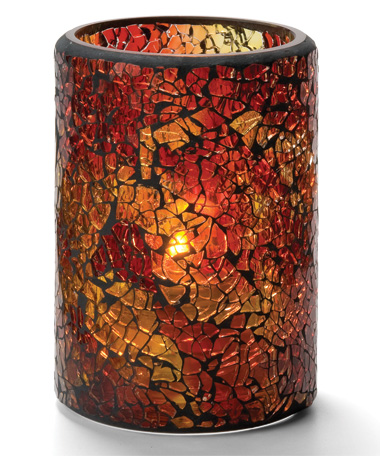 Red & Gold Crackle™ Glass Cylinder Lamp