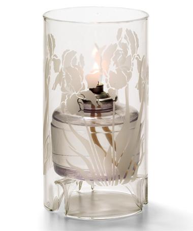 Iris Etch Large Glass Cylinder Lamp