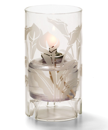 Calla Lily Etch Large Glass Cylinder Lamp