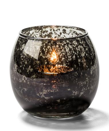 Antique Black, Small Glass Bubble Tealight Lamp