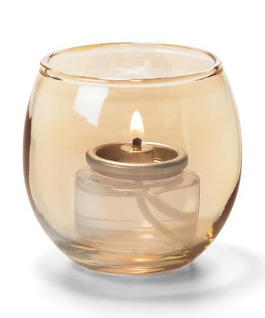 Gold, Small Glass Bubble Tealight Lamp