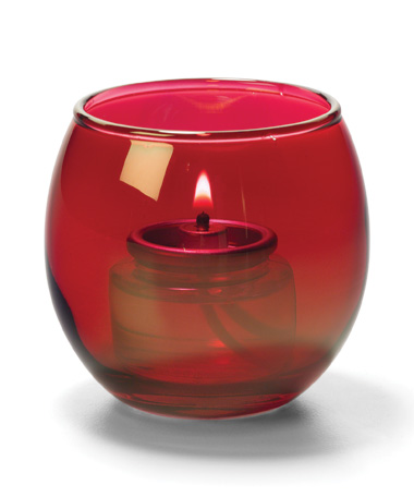 Ruby Lustre, Small Glass Bubble Tealight Lamp