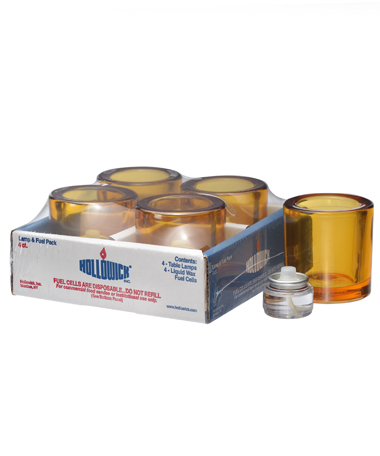 Amber Round Glass Thick Tealight Lamp Shelf Pack w/HD8 - 4/Pack