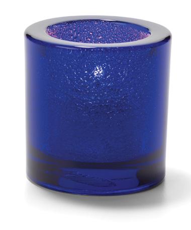 Cobalt Blue, Round Glass Thick Tealight Lamp