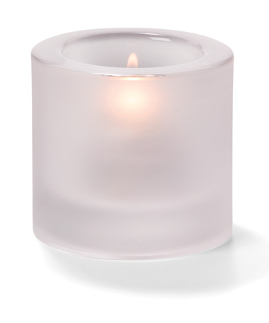 Satin Crystal, Round Thick Glass Tealight Lamp