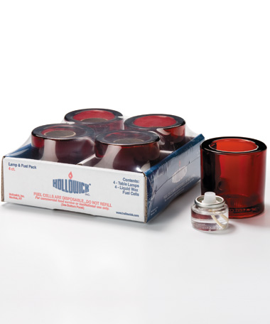 Ruby Round Glass Thick Tealight Lamp Shelf Pack w/HD8 - 4/Pack