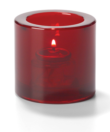 Ruby, Round Thick Glass Tealight Glass Lamp