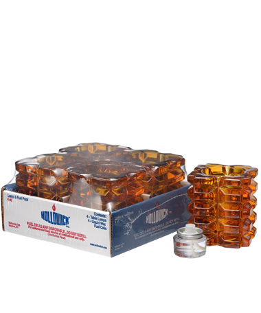 Amber Faceted Cube Glass Votive Lamp Shelf Pack w/HD8 - 4/Pack