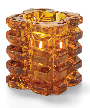 Amber Faceted Cube Glass Votive Lamp