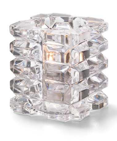 Clear Faceted Cube Glass Votive Lamp