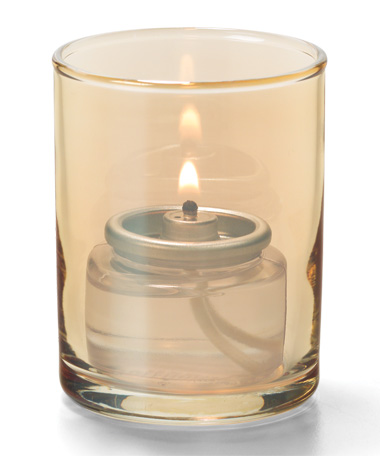 Gold Lustre, Tealight Glass Cylinder Lamp