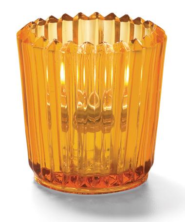 Amber Ribbed Glass Tealight Lamp