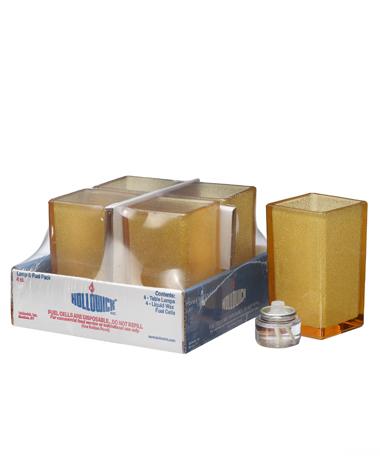 Amber Jewel Panel-Quad™ Glass Votive Lamp Shelf Pack w/HD8 - 4/Pack