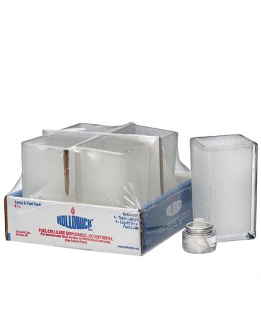 Clear Jewel Panel-Quad™ Glass Votive Lamp Shelf Pack w/HD8 - 4/Pack
