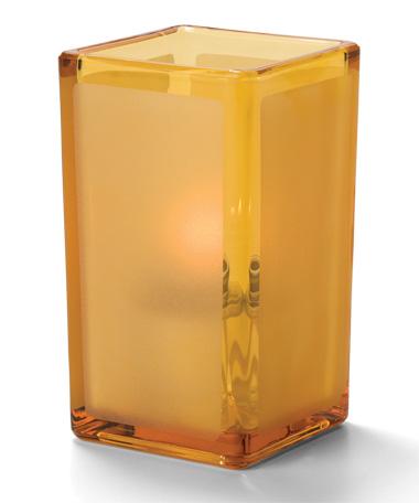 Amber Satin Panel-Quad™ Glass Votive Lamp