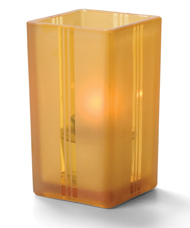 Amber Art Deco-Quad™ Glass Votive Lamp