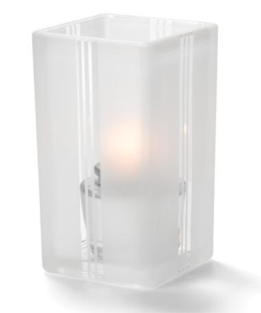 Clear Art Deco-Quad™ Glass Votive Lamp