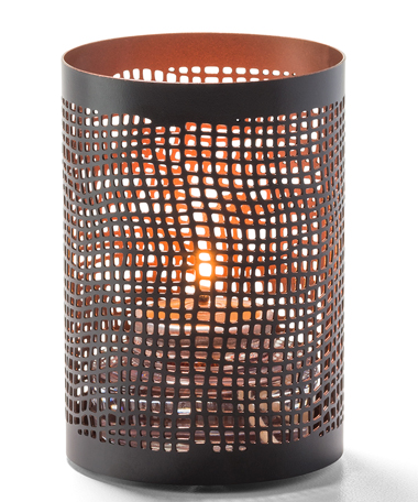 Chantilly™ (Black & Copper) Perforated Metal Votive Lamp