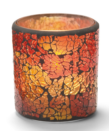 Red & Gold Frosted Crackle™ Glass Lamp